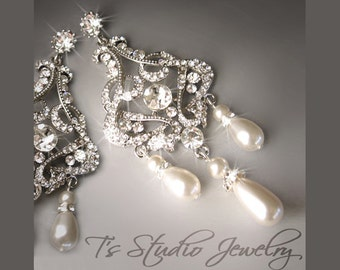 Pearl Chandelier Bridal Earrings with Rhinestones and Ivory or White Pearls - available in gold or silver - DENISE