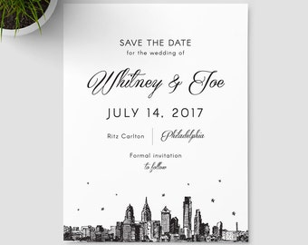 Philadelphia Skyline Save the Date SAMPLE ONLY
