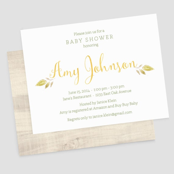 gender neutral baby shower invitations with envelopes woodland