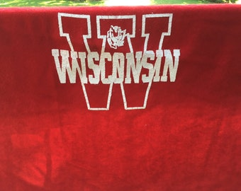 Vintage Wisconsin Badgers Rose Bowl Wool Lap Blanket