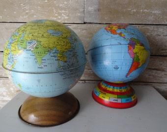 Vintage Globe Ohio Art Small Banks Tin 1 of 2