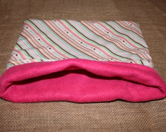 Medium Pink Stripe Pouch for small pocket pets.