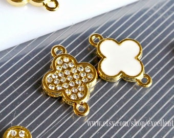 Bracelet connector, Enamel, Rhinestone, Gold plated Double-sided Metal Clover Connector in white color