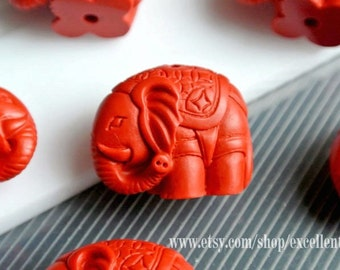 7% off,  5-10 Vintage Matte Stone pendant, Asian style caved Cinnabar Elephant beads in red color. 23mm* 30mm-#7078