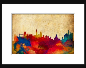 Londom England Skyline Typography Print Poster Map Abstract Grunge
