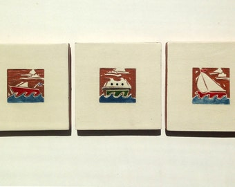 """Set of 3 Boats handmade ceramic tiles 4""""x4"""" sailboat, speedboat, and ferry boat"""