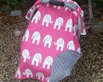 Baby Car Seat Canopy - Baby Car Seat Cover - Girl Car Seat Canopy - Pink Car Seat Cover - Elephant Car Seat Canopy - Baby Shower Gift