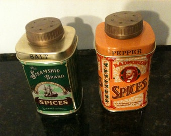 Vintage Tin Spices Salt and Pepper Shakers