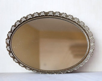 Vanity Mirror Tray Lovely Gold Laced Oval  - Vintage Home Decor Chic