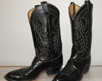 mens vintage cowboy boots Tony Lama black leather size 9