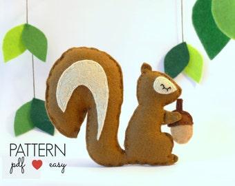 Squirrel Pattern,  Felt Squirrel Pattern- Woodland Baby Mobile Pattern, Felt Ornament Pattern, Squirrel Cake Topper, Felt Toy