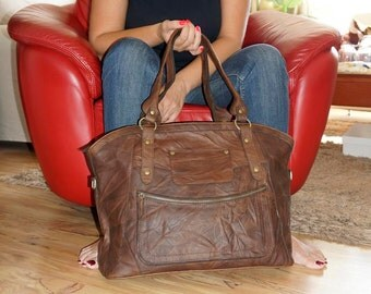 """17"""" Distressed Leather Tote Bag Cross-body Bag Magui BIS extra large, fits a 17"""" laptop"""