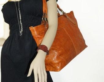 "Distressed orange leather tote bag ,leather handbag, leather cross-body bag, extra-large leather laptop purse Nora 17"""