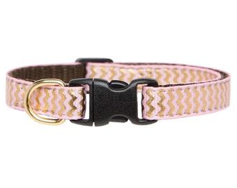 "Cat Collar - ""The Glitterati"" - Pink with Metallic Gold Chevron Print"