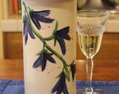 Ceramic Wine Chiller Cooler Blue Flowers on White Gift for Wine Lovers or Housewarming