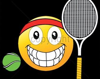 UNISEX ADULT T Shirt Emoji Tennis Ball and Racquet  18512