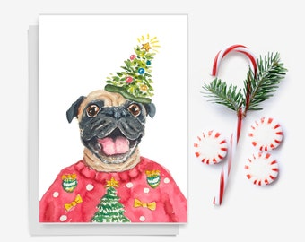 Dog Christmas Card - Pug Watercolor, Holiday Card, Greeting Card, Funny Xmas Card, Ugly Sweater, Christmas Tree