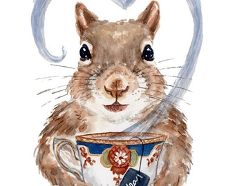 Squirrel Watercolor Painting PRINT - 5x7 Illustration Print, Teacup Art, Tea Drinking, Red squirrel, Kitchen Art