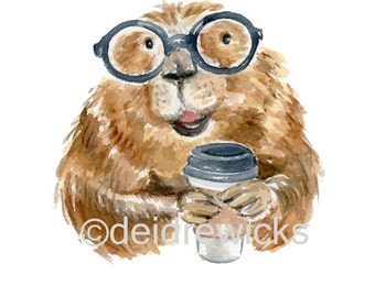 Beaver Watercolor PRINT - 5x7 Watercolour, Coffee Lover, Funny Art, Nursery Art, Coffee Illustration