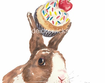 Rabbit Watercolor PRINT - 5x7 Print, Cupcake Watercolour, Kitchen Art, Bunny Rabbit