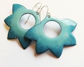 Aqua turquoise blue enamel lotus flower earrings Big boho floral hoop dangles Artisan bohemian jewelry