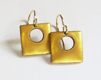 Tiny gold drop earrings Small square hoop dangle earrings Unique dainty gold earrings Modern enamel jewelry gift for her
