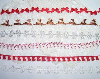 3 yards Christmas Satin Ribbon BTY Trim Satin Cut Outs Red Bows, Reindeer, Snowflake, Stockings, Candycane Holiday Embelishment MAY ARTS
