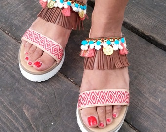 Genuine greek leather sandals, platform sandals,bohemian chic,hippie,boho style, decorated sandals,pom pom sandals, colourful sandals,summer