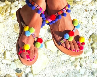 Fabulous pom pom sandals,Greek sandals, leather sandals,handmade sandals,crazy sandals