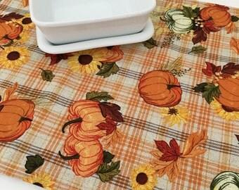 Autumn Table Runner | Thanksgiving Table Runner | Pumpkin Table Runner | Centerpiece | Topper Linens | Fall Table Runner
