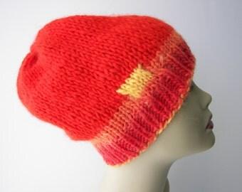 Flame Orange: ICELANDIC WOOL Slouchy Beanie Hat in Lopi yarn / Art Knit Hat / Unique Knit Hat / Warm Knit Hat