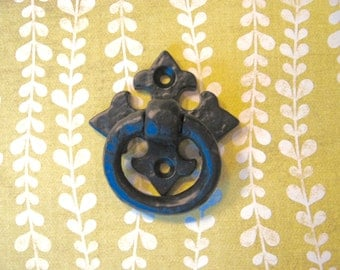 2 Black Spanish Ring Pulls Heavy Drawer Pulls for Cabinets or Drawers Decorative Black Cast Iron Hardware B-5
