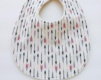 Happy Hempy, organic cotton and hemp fleece backed baby bib, super absorbent, pink and gray arrows