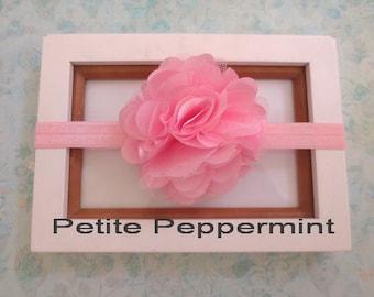 Pink Baby headband, baby girl headband, newborn headband, toddler headband - Pink Baby Flower Headband