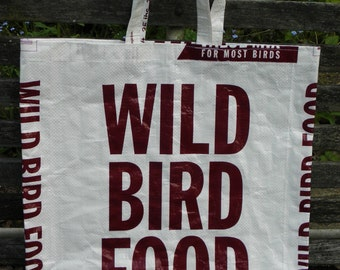 VALUE PRICED, LARGE Man Bag, Upcycled Recycled Repurposed  Grocery Market Tote or Gift Bag for Bird Lovers