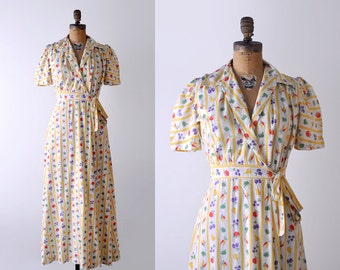 1930's print dress. small. 30's day dress. fruit print. striped. 1930 maxi dress. wrap.