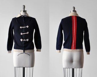 50's navy blue cardigan. 1950's collared sweater. chinese knots. red, white. 1950 striped cardigan. xs.