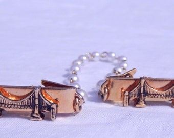 Golden Gate  Bridge sweater clips with faux pearl beads
