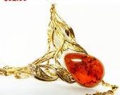 Sterling Silver & Amber Necklace - Vintage Large BOHO Teardrop Stone in an Art Nouveau Leaf Setting - Signed EK 925
