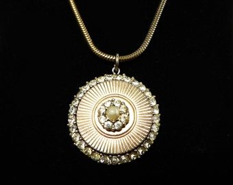 Boucher Pendant Necklace - Goldtone Round Pendant with Clear Rhinestones - Designer Signed Vintage 1950's - 1960's Classic Jewelry