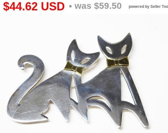 Sterling Kitty Cat Brooch - Two Cats with Bow Ties - Mexico 925 TR - 151 - Feline Silver Pin - Large Sterling Figural Vintage Brooch