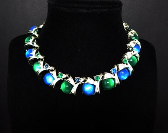 Blue & Green Moon Glow Necklace Signed Coro - Round GlassCabochon Choker - Rhinestones - Vintage Mid Century Modern Jewelry