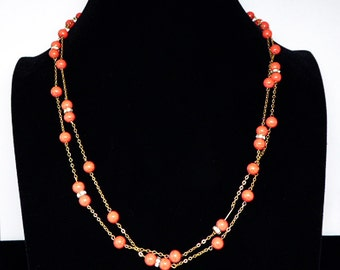 Art Deco Bead & Rhinestone Necklace - Rhinestone Rondelle Beads -Coral Red Ball Beads - Goldtone Chain Flapper Style - Vintage