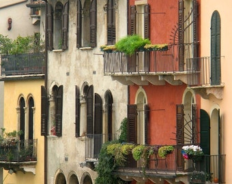 """Fine Art Color Architecture Photography of Verona Italy - """"Row of Homes in Verona"""" Square Print"""
