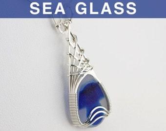 Blue Multi English Sea Glass Pendant