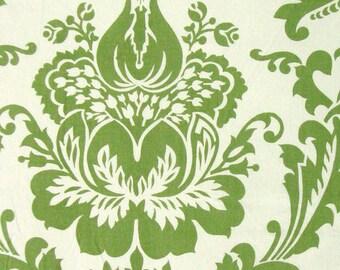 damask print cotton fabric - off white and green - 1 yard - ctnp314