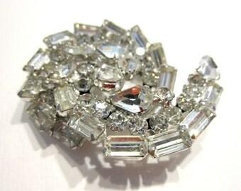 Vintage Clear Rhinestone Brooch Juliana Silver White Wedding Pin Large Swirling Vintage Brooch