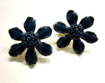 Vintage Blue Enamel Weiss Earrings Signed Weiss Clip On Earrings Designer Vintage Jewelry Under 5