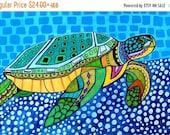 55% Off- Sea Turtle Art - Art Poster Print of painting by Heather Galler - Modern Folk Art Ocean (HG825)