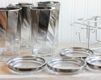 Vintage Drinking Caddy, 1960s Cocktail Barware, Silver Gray Smoke Drinking Glasses, Coaster Glass and Caddy